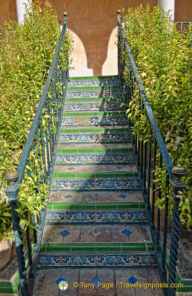 Beautiful glazed tiles on stairways