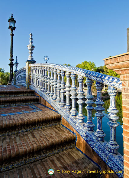 Elaborate tilework forming the railing of the bridges