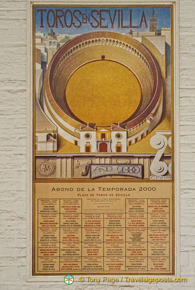 Poster showing the Year 2000 bullfight schedule