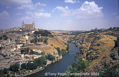 Toledo city view from across the River Tagus