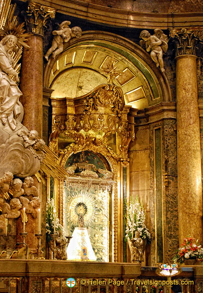 Basilica del Pilar:  This wooden statue of Nuestra Señora del Pilar is only 38 cm tall