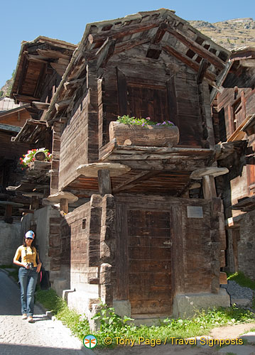 17th century Zermatt building used for storage of sausage, bread and dried meat