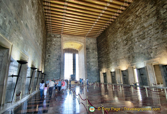 The Hall of Honour is a room measuring 41.65 m by 57.35 m