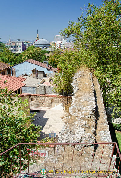 View of the old Seljuk city wall as seen from the upper level of Hadrian's Gate