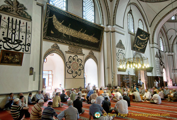 Prayer groups in session at the Great Mosque