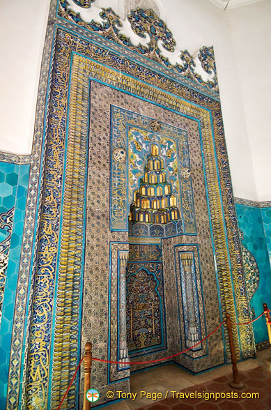 The Mihrab with very intricate ornamental tile designs