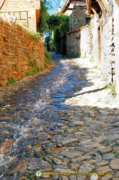 Spring water gushing down Cumalikizik's main street