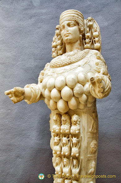 Due to her many breasts, Artemis of Ephesus is regarded as a fertility goddess