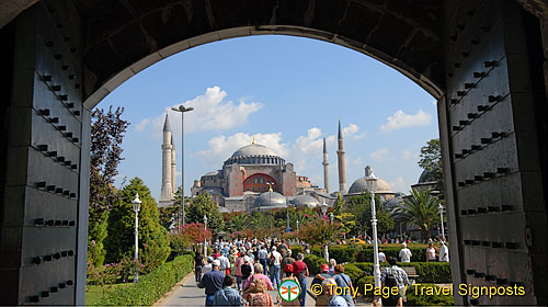 View to Hagia Sophia from the Blue Mosque, Istanbul, Turkey