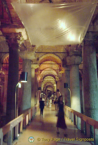 Atmospheric walkways in the Basilica Cistern
