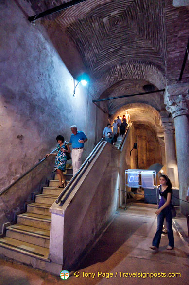 Steps down into the Basilica Cistern