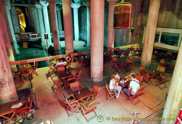 Looking down at the Cistern Cafe