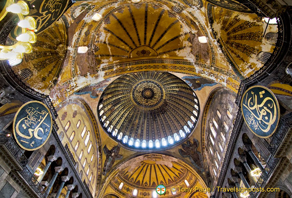 The great dome of Hagia Sophia is decorated with inscriptions from the Koran