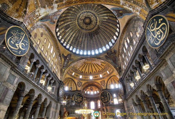There are 8 wooden circular panes in Hagia Sophia