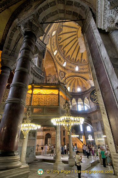 View of the Sultan's Loge inside Hagia Sophia