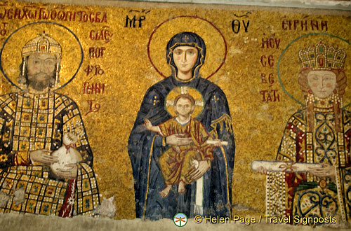 Mosaic of the Virgin and child flanked by Emperor John II Comnenus and Empress Irene