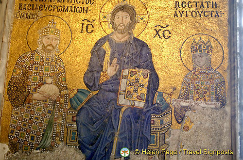 Mosaic of Empress Zoe & Constantine IX with Christ in the middle