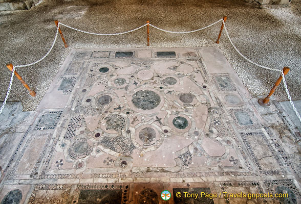 Remains of mosaic floor of Hagia Sophia church