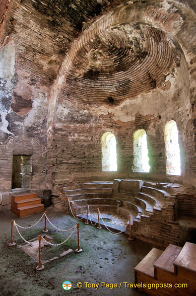 The Synthronon (semi-circular seats for the bishops) in the apse of Hagia Sophia