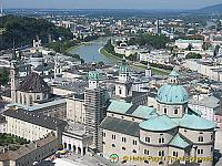 Aerial view of Salzburg old town and the surrounding area