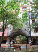 Fountain and archway of Hundertwasserhaus