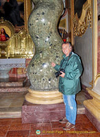 Tony by the twisty column of Jesuitenkirche