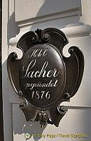 A very chocolatey Hotel Sacher sign