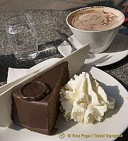 Sacher torte and hot chocolate