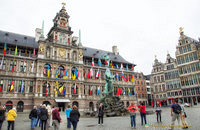 Antwerp City Hall and Guild houses on Grote Markt