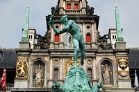 The Brabo Fountain tells the legend of how Antwerp got its name