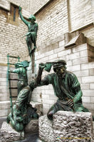 Statue of builders of Antwerp Cathedral