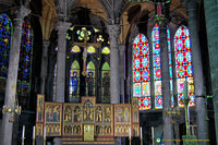 Beautiful stained glass and altarpiece of the Church of Our Lady