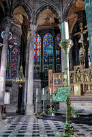 Stained glass and altarpiece of the Notre-Dame de Dinant