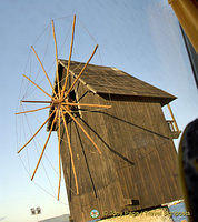 Old wooden windmill on the isthmus