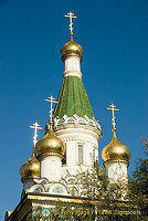 St. Nikolai's five onion domes are covered in gold