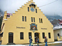 Braustuberl brewery's clock says it's 12:30 pm