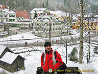 Tony with views of Villa Jagerhaus and Hotel Lisl in the background