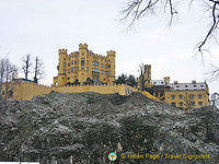 Four-storey high, Schloss Hohenschwangau is flanked by angular towers