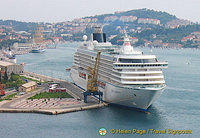 One of the many cruise ships in Dubrovnik port