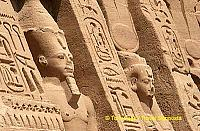 The temple is decorated with scenes of Ramses slaying Egypt's enemies, watched upon by Nefertari.