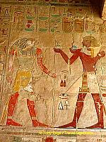Chapel of Anubis - Tuthmosis III making offerings to the sun god Ra-Harakhty