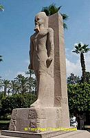 Colossal statue of Rameses II at the gate of the Temple of Ptah.
