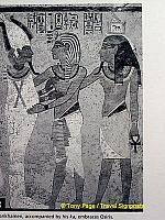 Tutankhamen, accompanied by his ka, embraces Osiris