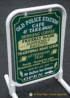 Sign for the Old Police Station Cafe & Takeaway