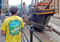 A sailor admiring The Golden Hinde