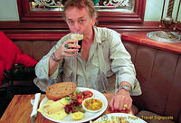 Tony with his Guinness and ploughman's lunch