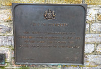 Tablet commemorating the departure from Plymouth in May 1839 of the Tory, the pioneer ship in the colonisation of New Zealand
