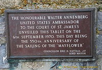 Tablet commemorating the 350th anniversary of the sailing of the Mayflower.