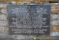 Plaque commemorating the 400th anniversary of Sir Walter Raleigh's colonies