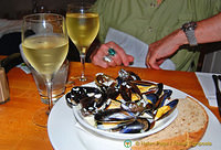 Steamed mussels at the Seafood Cafe